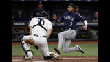 Seattle Mariners' J.P. Crawford (3) tries to score on a single by Austin Nola during the fifth inning of a baseball game Tuesday, Aug. 20, 2019, in St. Petersburg, Fla. Tampa Bay Rays catcher Mike Zunino (10) tagged Crawford out. (AP Photo/Chris O'Meara)