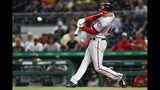 Washington Nationals starting pitcher Patrick Corbin hits an RBI double during the eighth inning against the Pittsburgh Pirates in a baseball game Wednesday, Aug. 21, 2019, in Pittsburgh. (AP Photo/Keith Srakocic)
