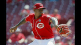Cincinnati Reds relief pitcher Raisel Iglesias throws in the ninth inning of a baseball game against the San Diego Padres, Wednesday, Aug. 21, 2019, in Cincinnati. (AP Photo/John Minchillo)