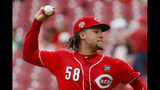 Cincinnati Reds starting pitcher Luis Castillo throws in the first inning of a baseball game against the San Diego Padres, Wednesday, Aug. 21, 2019, in Cincinnati. (AP Photo/John Minchillo)