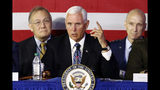 Vice President Mike Pence speaks during the sixth meeting of the National Space Council at the National Air and Space Museum's Steven F. Udvar-Hazy Center, Tuesday, Aug. 20, 2019, in Chantilly, Va. (AP Photo/Patrick Semansky)