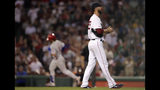 Boston Red Sox starting pitcher Rick Porcello, right, walks back to the mound as Philadelphia Phillies' Bryce Harper rounds the bases after his two run home run in the fifth inning during a baseball game against the Boston Red Sox at Fenway Park in Boston, Wednesday, Aug. 21, 2019. (AP Photo/Charles Krupa)