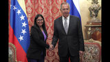 Venezuelan Vice President Delcy Rodriguez, left, and Russian Foreign Minister Sergei Lavrov shake hands during their meeting in Moscow, Russia, Aug. 21 2019. Delcy Rodriguez is on a working visit to Moscow. (Maxim Shipenkov/Pool Photo via AP)