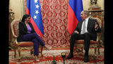 Venezuelan Vice President Delcy Rodriguez, left, speaks with Russian Foreign Minister Sergei Lavrov during their meeting in Moscow, Russia, Wednesday Aug. 21 2019. Delcy Rodriguez is on a working visit to Moscow. (Maxim Shipenkov/Pool Photo via AP)