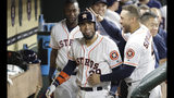 Houston Astros' Robinson Chirinos, left, celebrates with George Springer (4) after hitting a home run against the Detroit Tigers during the seventh inning of a baseball game Wednesday, Aug. 21, 2019, in Houston. (AP Photo/David J. Phillip)