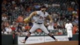 Detroit Tigers starting pitcher Daniel Norris throws against the Houston Astros during the first inning of a baseball game Wednesday, Aug. 21, 2019, in Houston. (AP Photo/David J. Phillip)