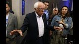 Democratic presidential candidate Sen. Bernie Sanders, I-Vt., speaks to reporters at the Iowa Federation of Labor convention, Wednesday, Aug. 21, 2019, in Altoona, Iowa. (AP Photo/Charlie Neibergall)