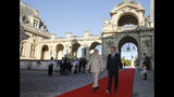 French President Emmanuel Macro, right, and Indian Prime Minister Narendra Modi arrive for a meeting at the Chateau of Chantilly, north of Paris, Thursday Aug. 22, 2019. Indian Prime Minister Narendra Modi will be a guest at the G7 in Biarritz. (Pascal Rossignol, Pool via AP)