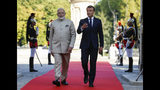 French President Emmanuel Macron, right, welcomes Indian Prime Minister Narendra Modi before a meeting at the Chateau of Chantilly, north of Paris, Thursday Aug. 22, 2019. Indian Prime Minister Narendra Modi will be a guest at the G7 in Biarritz. (Pascal Rossignol, Pool via AP)