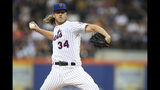 New York Mets starting pitcher Noah Syndergaard delivers against the Cleveland Indians during the first inning of a baseball game Thursday, Aug. 22, 2019, in New York. (AP Photo/Mary Altaffer)
