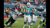 Miami Dolphins quarterback Ryan Fitzpatrick (14) prepares to pass as he is rushed by Jacksonville Jaguars defensive tackle Eli Ankou (54) during the second half of an NFL football preseason game Thursday, Aug. 22, 2019, in Miami Gardens, Fla. (AP Photo/Lynne Sladky)