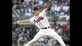 Atlanta Braves' Mike Soroka pitches against the Miami Marlins during the first inning of a baseball game Thursday, Aug. 22, 2019, in Atlanta. (AP Photo/Tami Chappell)