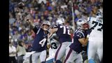 New England Patriots quarterback Jarrett Stidham (4) passes against the Carolina Panthers in the first half of an NFL preseason football game, Thursday, Aug. 22, 2019, in Foxborough, Mass. (AP Photo/Elise Amendola)