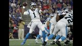 Carolina Panthers quarterback Cam Newton drops back to pass against the New England Patriots in the first quarter of an NFL preseason football game, Thursday, Aug. 22, 2019, in Foxborough, Mass. (AP Photo/Elise Amendola)
