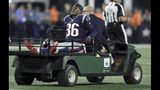 New England Patriots linebacker Brandon King (36) is taken off the field in a cart after an injury in the first half of an NFL preseason football game against the Carolina Panthers, Thursday, Aug. 22, 2019, in Foxborough, Mass. (AP Photo/Charles Krupa)