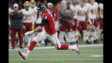 Atlanta Falcons quarterback Matt Ryan (2) runs against the Washington Redskins during the first half an NFL preseason football game, Thursday, Aug. 22, 2019, in Atlanta. (AP Photo/John Bazemore)