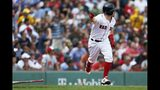 Boston Red Sox's Brock Holt runs on his game-winning RBI single during the 10th inning of a baseball game against the Kansas City Royals that was suspended by rain with the scored tied on Aug. 8, and continued at Fenway Park in Boston, Thursday, Aug. 22, 2019. (AP Photo/Michael Dwyer)