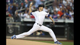 New York Mets starting pitcher Jacob deGrom delivers against the Atlanta Braves during the first inning of a baseball game Friday, Aug. 23, 2019, in New York. (AP Photo/Mary Altaffer)