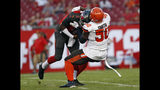 Cleveland Browns defensive end Chris Smith (50) sacks Tampa Bay Buccaneers quarterback Jameis Winston (3) during the first half of an NFL preseason football game Friday, Aug. 23, 2019, in Tampa, Fla. (AP Photo/Mark LoMoglio)