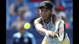 Naomi Osaka, of Japan, returns a shot against Sofia Kenin, of the United States, during a quarterfinal match of the Western & Southern Open tennis tournament, Friday, Aug. 16, 2019, in Mason, Ohio./The Cincinnati Enquirer via AP)