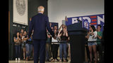Democratic presidential candidate former Vice President Joe Biden faces cheering students during a campaign event at Dartmouth College, Friday, Aug. 23, 2019, in Hanover, N.H. (AP Photo/Elise Amendola)