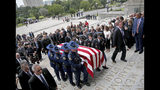 The casket is brought into the Louisiana State Capital building during an honor procession for former Louisiana Gov. Kathleen Babineaux Blanco, on the front steps of the state Capitol in Baton Rouge, La., Thursday, Aug. 22, 2019. Thursday was the first of three days of public events to honor Blanco, the state's first female governor who died after a years long struggle with cancer.(AP Photo/Michael Democker, Pool)