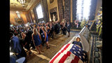 Former Louisiana Gov. Kathleen Babineaux Blanco lies in state in the state capitol rotunda in Baton Rouge, La., Thursday, Aug. 22, 2019. Thursday was the first of three days of public events to honor Blanco, the state's first female governor who died after a years long struggle with cancer.(AP Photo/Michael Democker, Pool)