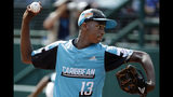 Curacao's Jurdrick Profar delivers during the first inning of an elimination baseball game against South Korea at the Little League World Series tournament in South Williamsport, Pa., Thursday, Aug. 22, 2019. (AP Photo/Gene J. Puskar)