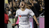 Los Angeles FC's Joshua Perez celebrates his goal against the San Jose Earthquakes during the second half of an MLS soccer match Wednesday, Aug. 21, 2019, in Los Angeles. (AP Photo/Marcio Jose Sanchez)