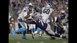 New England Patriots defensive tackle Adam Butler (70) sacks Carolina Panthers quarterback Cam Newton (1) in the first half of an NFL preseason football game, Thursday, Aug. 22, 2019, in Foxborough, Mass. (AP Photo/Elise Amendola)