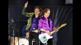Mick Jagger, left, and Keith Richards of the Rolling Stones perform during their concert at the Rose Bowl, Thursday, Aug. 22, 2019, in Pasadena, Calif. (Photo by Chris Pizzello/Invision/AP)