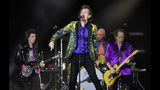 Mick Jagger, center, performs with his Rolling Stones bandmates, from left, Ron Wood, Charlie Watts and Keith Richards at the Rose Bowl, Thursday, Aug. 22, 2019, in Pasadena, Calif. (Photo by Chris Pizzello/Invision/AP)