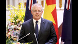 Australian Prime Minister Scott Morrison speaks during a press briefing at the Government Office in Hanoi, Vietnam, Friday, Aug. 23, 2019. Morrison is on an official visit to Vietnam from Aug. 22-24, 2019. (AP Photo/Duc Thanh, Pool)