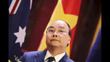 Vietnamese Prime Minister Nguyen Xuan Phuc speaks during a press briefing at the Government Office in Hanoi, Friday, Aug. 23, 2019. (AP Photo/Duc Thanh, Pool)