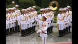 An honor guard prepares for a welcome ceremony for visiting Australian Prime Minister Scott Morrison at the Presidential Palace in Hanoi, Vietnam, Friday, Aug. 23, 2019. Morrison is on a three-day official visit to Vietnam. (AP Photo/Duc Thanh)