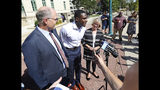 Wisconsin Badger football player Quintez Cephus speaks during a press conference outside the Madison Municipal Building addressing his reinstatement to the university in Madison, Wis. Monday, Aug. 19, 2019. He is pictured with his attorneys, Stephen Meyer and Kathleen Stilling. The university expelled Cephus last semester for violating the non-academic misconduct code following accusations of sexual assault from two women. A Dane County jury acquitted him of those charges earlier this month after deliberating for less than an hour. (John Hart/Wisconsin State Journal via AP)