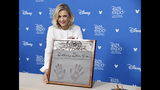 Television journalist Diane Sawyer poses during her handprint ceremony at the Disney Legends press line during the 2019 D23 Expo, Friday, Aug. 23, 2019, in Anaheim, Calif. (Photo by Chris Pizzello/Invision/AP)