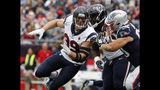 FILE - In this Sept. 9, 2018, file photo, Houston Texans' J.J. Watt rushes during an NFL football game against the New England Patriots in Foxborough, Mass. Defending AFC South champ Houston has Deshaun Watson and DeAndre Hopkins along with J.J. Watt back healthy and in his prime. (AP Photo/Winslow Townson, File)