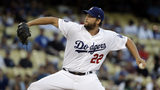 Los Angeles Dodgers starting pitcher Clayton Kershaw throws to a Toronto Blue Jays batter during the first inning of a baseball game Tuesday, Aug. 20, 2019, in Los Angeles. (AP Photo/Marcio Jose Sanchez)