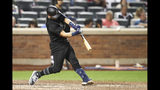 Atlanta Braves' Francisco Cervelli hits an RBI double during the ninth inning of the team's baseball game against the New York Mets, Saturday, Aug. 24, 2019, in New York. (AP Photo/Mary Altaffer)