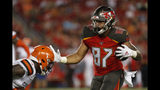 Tampa Bay Buccaneers tight end Jordan Leggett (87) scores on a 20-yard touchdown reception against the Cleveland Browns during the second half of an NFL preseason football game Friday, Aug. 23, 2019, in Tampa, Fla. (AP Photo/Mark LoMoglio)