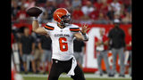 Cleveland Browns quarterback Baker Mayfield (6) throws a pass during the first half of an NFL preseason football game against the Tampa Bay Buccaneers Friday, Aug. 23, 2019, in Tampa, Fla. (AP Photo/Mark LoMoglio)