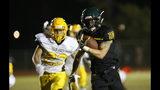 Paradise High School running back Lukas Hartley runs down field during the first half of their game against Williams High School in Paradise, Calif., Friday, Aug. 23, 2019. This was the first game for the school since a wildfire last year that killed dozens and destroyed nearly 19,000 buildings including the homes of most of the players. Paradise won 42-0. (AP Photo/Rich Pedroncelli)