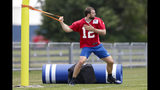 """FILE - In this July 26, 2019, file photo, Indianapolis Colts quarterback Andrew Luck warms up during practice at the NFL team's football training camp in Westfield, Ind. If Luck keeps progressing, then the questions will turn into how soon can he play? """"We won't as an organization, put any player out there that can't perform at a high level,"""" general manager Chris Ballard said. """"I'm not going to put players at risk. So if we feel comfortable, Frank and I and our staff feel comfortable that he can play, then he'll play."""" (AP Photo/Michael Conroy, File)"""