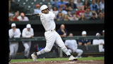Tampa Bay Rays' Tommy Pham follows through on a double against the Baltimore Orioles during the first inning of a baseball game Saturday, Aug. 24, 2019, in Baltimore. (AP Photo/Gail Burton)