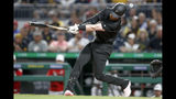 Pittsburgh Pirates' Colin Moran hits a grand slam off Cincinnati Reds relief pitcher Lucas Sims in the sixth inning of a baseball game Saturday, Aug. 24, 2019, in Pittsburgh. (AP Photo/Keith Srakocic)