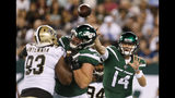 New York Jets quarterback Sam Darnold (14) throws a pass during the first half of the team's preseason NFL football game against the New Orleans Saints on Saturday, Aug. 24, 2019, in East Rutherford, N.J. (AP Photo/Adam Hunger)