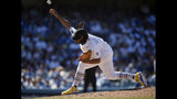 Los Angeles Dodgers relief pitcher Kenley Jansen throws during the ninth inning of the team's baseball game against the New York Yankees in Los Angeles, Saturday, Aug. 24, 2019. The Dodgers won 2-1. (AP Photo/Kelvin Kuo)