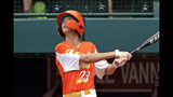 River Ridge, Louisiana's Marshall Louque drives in a run with a double off Curacao pitcher Keven Rosina during the third inning if the Little League World Series Championship game in South Williamsport, Pa., Sunday, Aug. 25, 2019. (AP Photo/Gene J. Puskar)