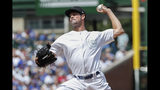 Chicago Cubs starting pitcher Cole Hamels delivers against the Washington Nationals during the first inning of a baseball game, Sunday, Aug. 25, 2019, in Chicago. (AP Photo/Kamil Krzaczynski)